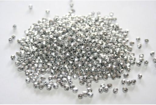 Fire Polished Beads Matte Metallic Aluminum 3mm - 60pz