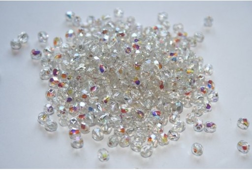 Fire Polished Beads Silver Lined Crystal AB 4mm - 60pz