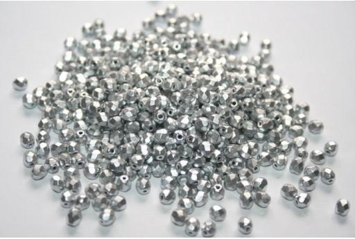 Perline Mezzi Cristalli Matte Metallic Aluminum