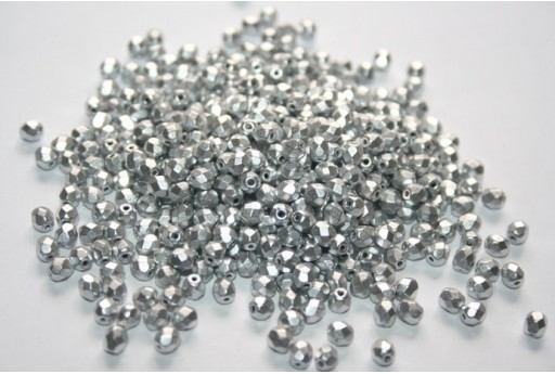 Perline Mezzi Cristalli Matte Metallic Aluminum 4mm - 60pz