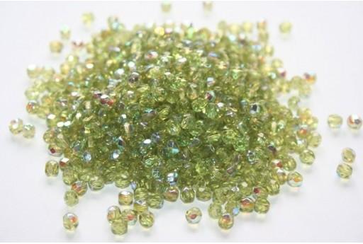 Fire Polished Beads Olivine Coated AB 4mm - 60pz