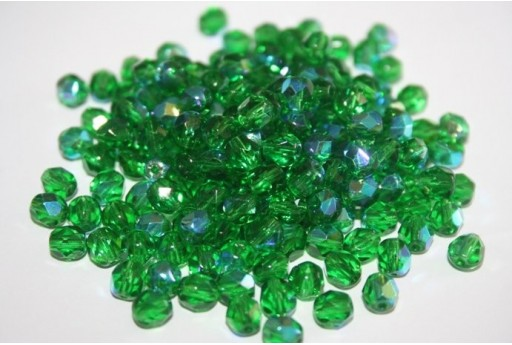 Perline Mezzi Cristalli 6mm, 30pz, Light Emerald AB Col.X50130