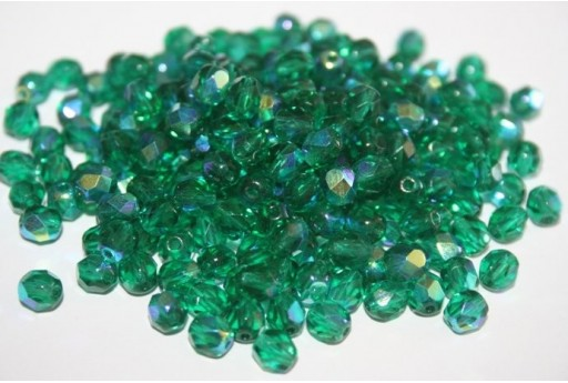 Fire Polished Beads 6mm, 30pz, Emerald AB Col.X50720