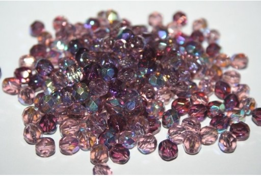 Fire Polished Beads Amethyst AB 6mm - 30pz