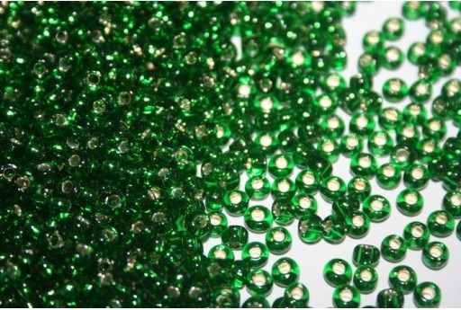 Toho Seed Beads 6/0, 10gr., Silver-Lined Grass Green Col.27B