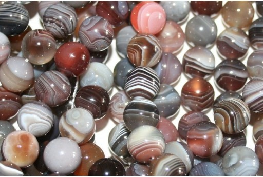 Botswana Agate Beads Grey Sphere 10mm - 3pz