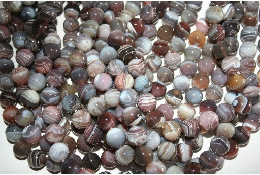 Botswana Agate Beads Grey Sphere 10mm - 38pz