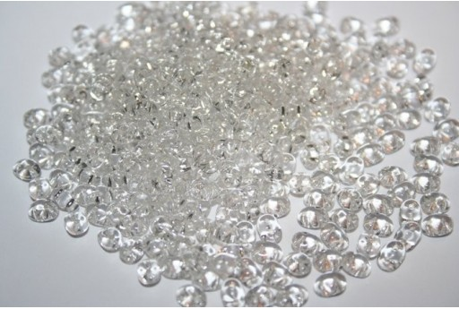 Superduo Beads Silver Lined-Crystal 5x2,5mm - 10gr
