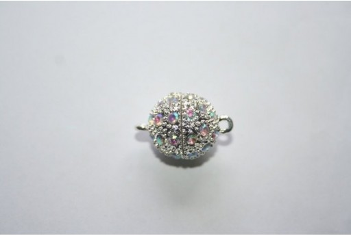 Silver Plated Magnetic Clasp with AB Strass 20X14mm MIN93F