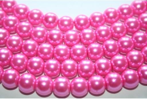 Perline Vetro Rosa Confetto Sfera 10mm - Filo 44pz