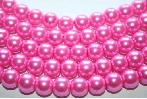 Filo 52 Perline Vetro Rosa Shocking Sfera 8mm VE55V