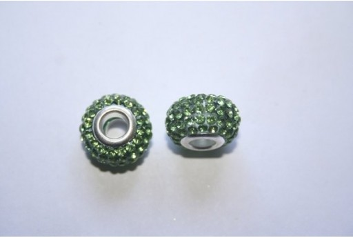 Perlina Rondella Strass Verde 15x10mm PAN29A