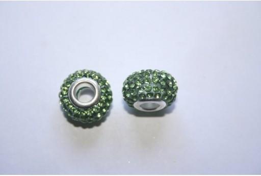 Large Hole Beads Rondelle Rhinestone 15x10mm PAN29A