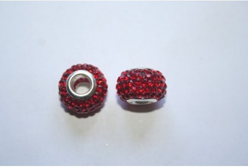 Large Hole Beads Rondelle Rhinestone Red 15x10mm PAN29B