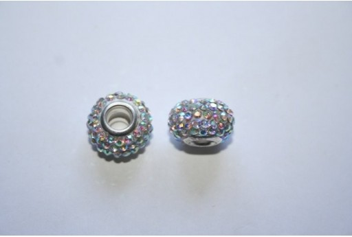 Large Hole Beads Rondelle Rhinestone Crystal AB 15x10mm PAN29D