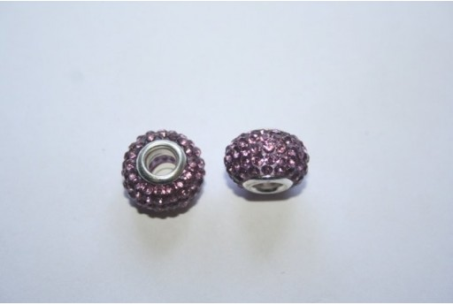 Perlina Rondella Strass Viola 15x10mm PAN29F