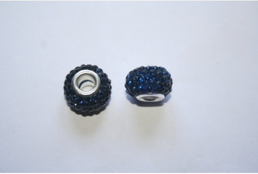 Perlina Rondella Strass Blue 15x10mm PAN29G