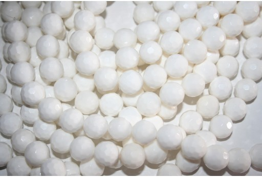 Shell White Round Faceted Beads 10mm - 3pcs