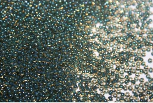 Perline Toho Round Rocailles 11/0, 10gr. Inside-Color Rainbow Top/Opaque Emerald Col.243