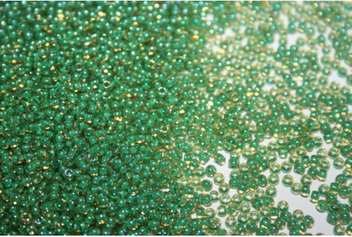 Perline Toho Round Rocailles 11/0, 10gr. Inside-Color Rainbow Lt Jonquil/Mint Lined Col.1830