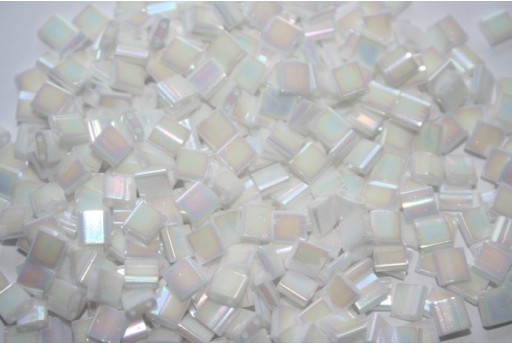 Miyuki Tila Beads White Rainbow Luster 5mm - 5gr