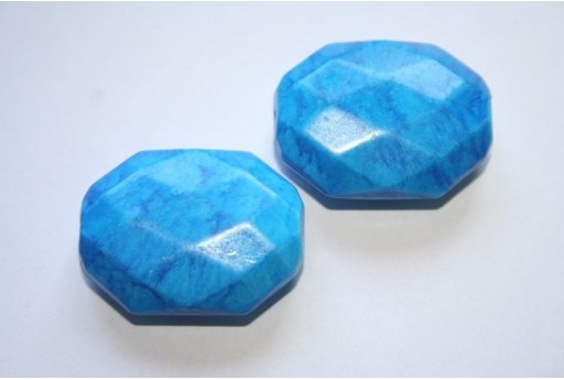 Acrylic Beads Sky Blue Faceted Oval 30x23mm - 6Pz