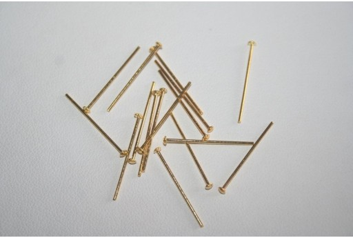 Gold Plated Headpins 2,4x0,7mm - 100pcs