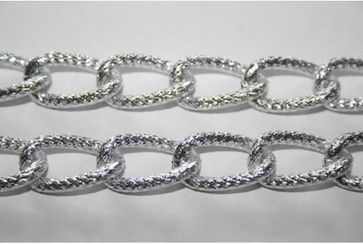 Catena Alluminio Ovale Brillantata 21,8x12,8mm - 1mt