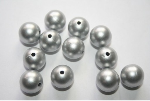 Perline Acrilico Argento Sfera 12mm - 14pz