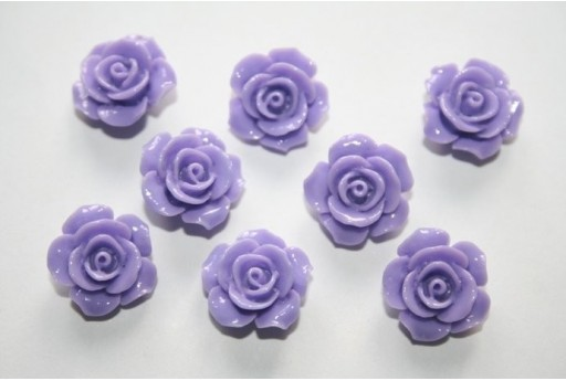 Resin Beads Rose Violet 14x8mm - 2pz
