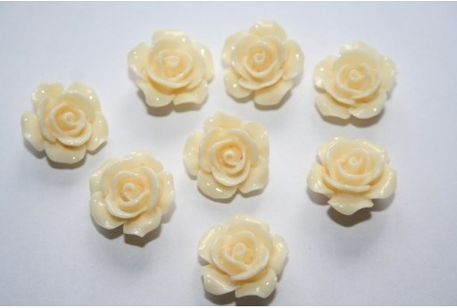 Resin Beads Rose Light Yellow 14x8mm - 2pz