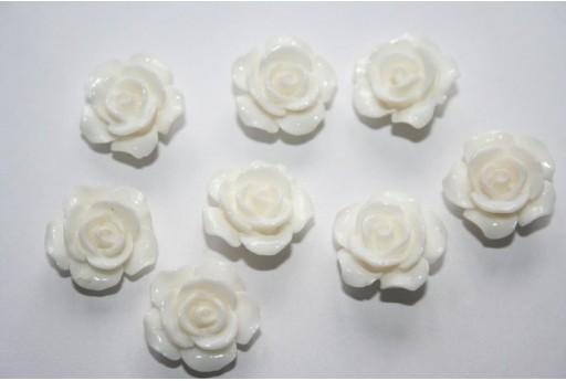 Perline Resina Rosellina Bianca 14x8mm - 2pz