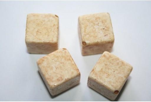 Perline Acrilico Giallo Cubo Diagonale 24mm - 6Pz