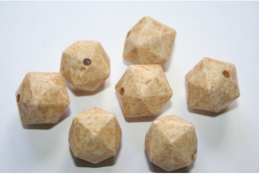 Perline Acrilico Giallo Cubo Sfaccettato 15mm - 10pz
