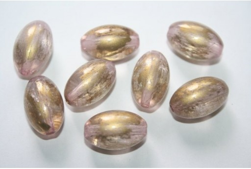 Acrylic Beads Pink Gold Oval 19x12mm - 14pz