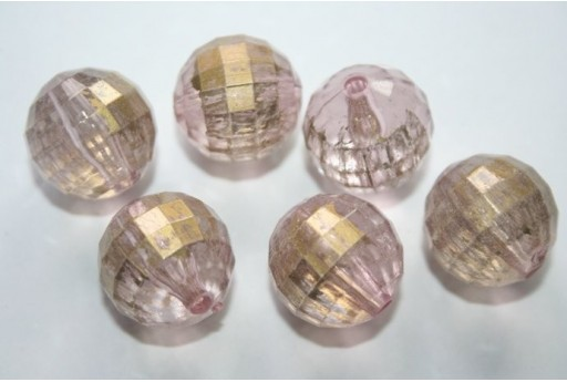 Acrylic Beads Pink Gold Faceted Sphere 18mm - 8Pz
