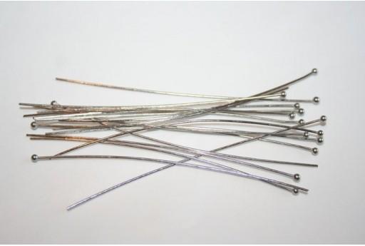 30 Chiodini Testa Tonda Colore Argento 60x0,7mm MINP09