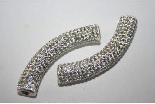 Perlina Pave' Tubo Crystal 10x50mm PAN30