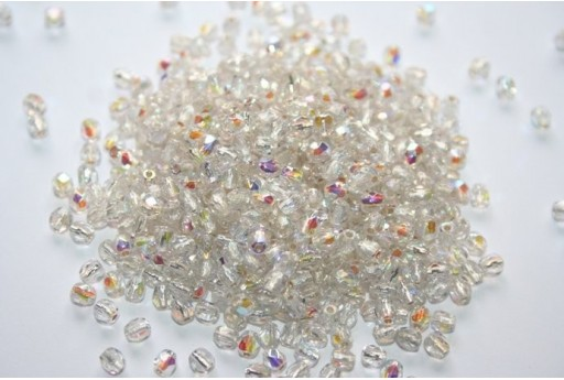 Perline Mezzi Cristalli Silver Lined-Crystal AB 3mm - 60pz
