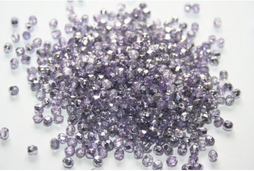 Fire Polished Beads Coated 1/2 Silver/Violet 3mm - 60pz