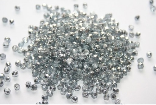 Perline Mezzi Cristalli Coated 1/2 Silver 3mm - 60pz