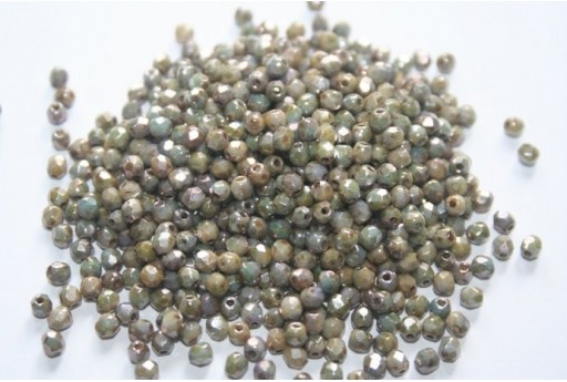 Fire Polished Beads Luster-Marble Green 3mm - 60pz