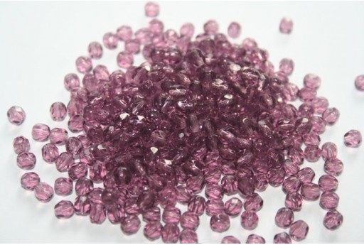 Fire Polished Beads Amethyst 4mm - 60pz