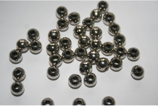 Platinum Plated Round Spacer Beads 6mm - 13g