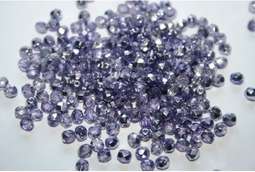 Fire Polished Beads Coated 1/2 Silver/Violet 4mm - 60pz