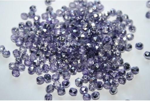 Perline Mezzi Cristalli Coated 1/2 Silver/Violet 4mm - 60pz