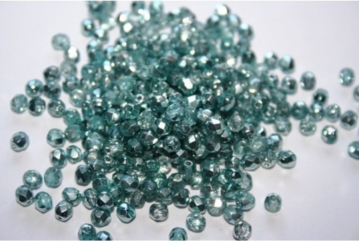 Fire Polished Beads Coated 1/2 Silver/Teal 4mm - 60pz