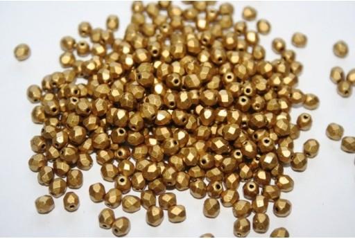 Fire Polished Beads Matte Metallic Aztec Gold 4mm - 60pz