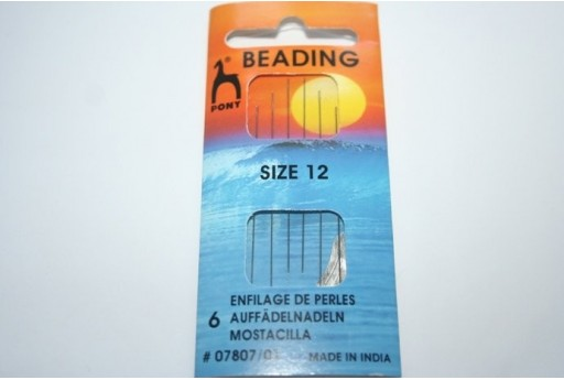 Pony Beading Needles Size 12 - 6pcs