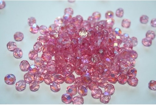 Fire Polished Beads Coated Milky Pink AB 6mm - 30pz